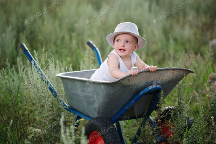 little boy with wheelbarrow