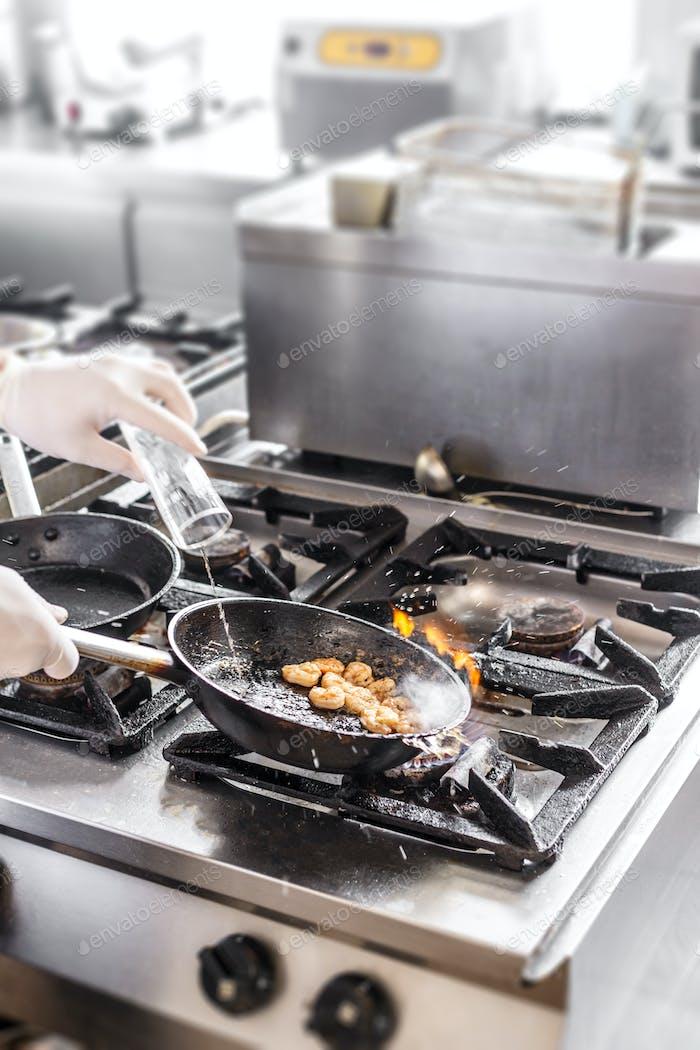 Chef doing flambe