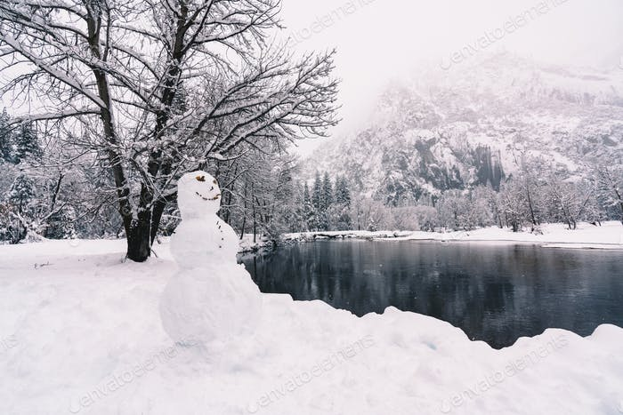 Snowman and Snowy Winter at Yosemite National Park