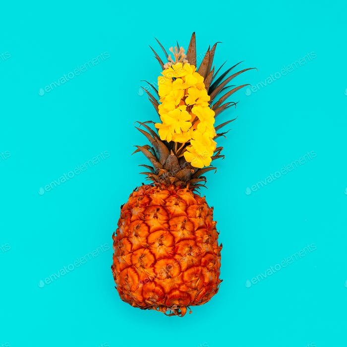 Pineapple and flowers. Tropical mood. Minimal style
