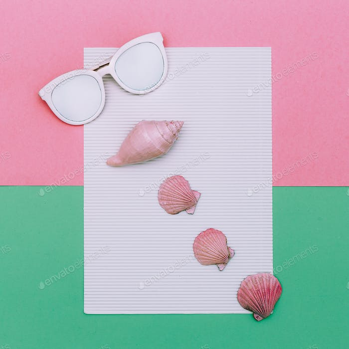 Sunglasses and seashells. Ocean Vacation Summer Minimal style