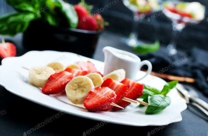 banana with strawberry