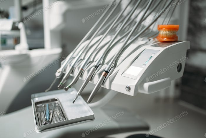 Dental drill closeup, nobody, dentistry clinic