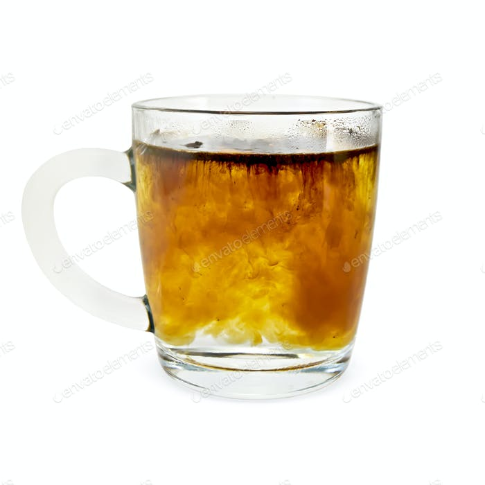 Coffee granulated in a glass mug