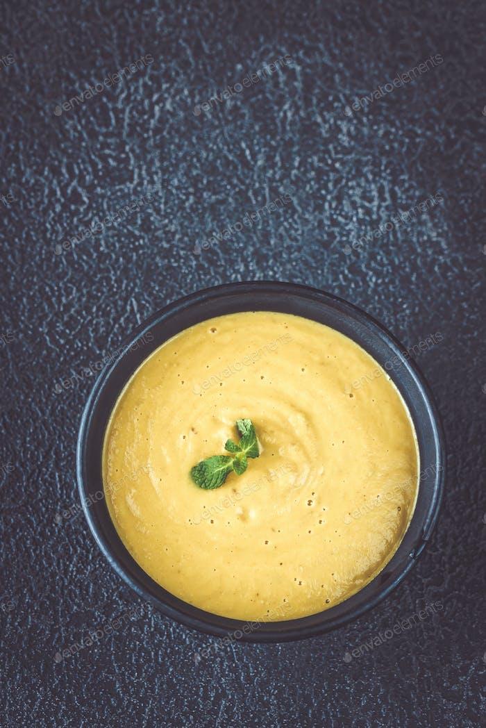 Bowl of lentil coconut creamy soup