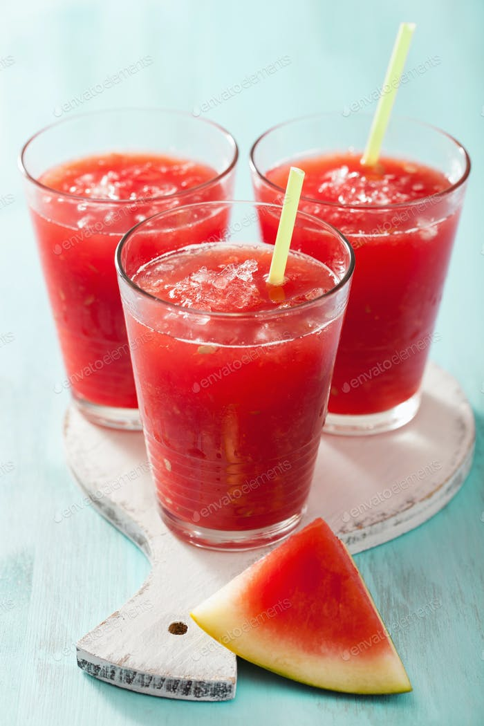 watermelon summer refreshing drink in glasses