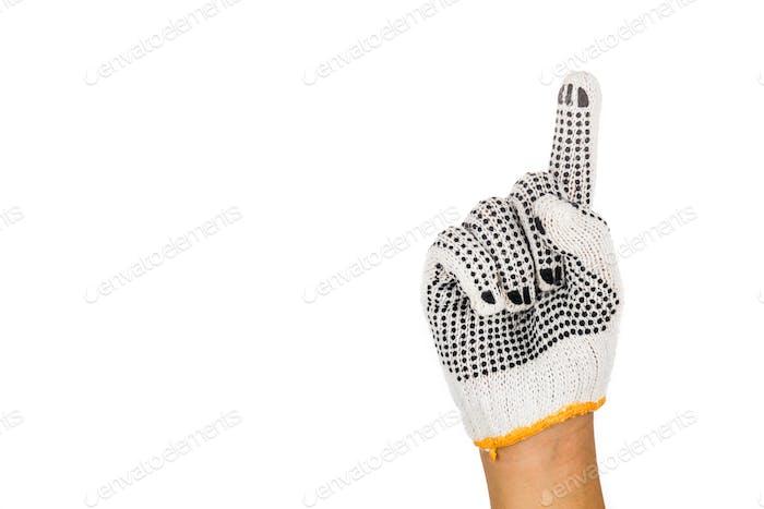 Hand in Industriehandschuh Gestik Nummer eins gegen weißen Rücken