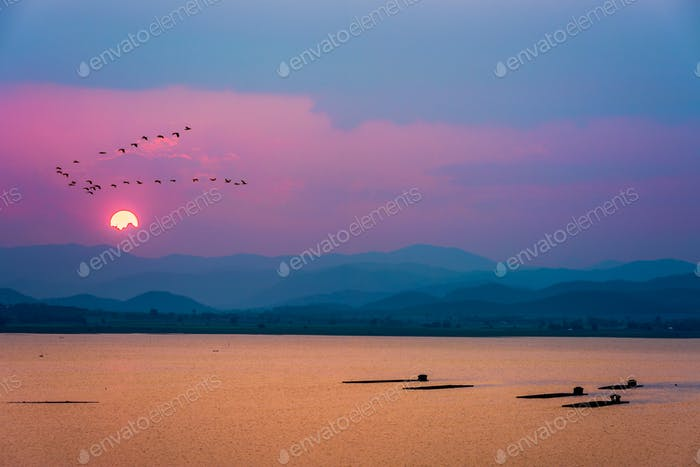 Birds flying over mountains and lake during sunset