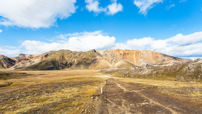 trail in canyon in Landmannalaugar in Iceland