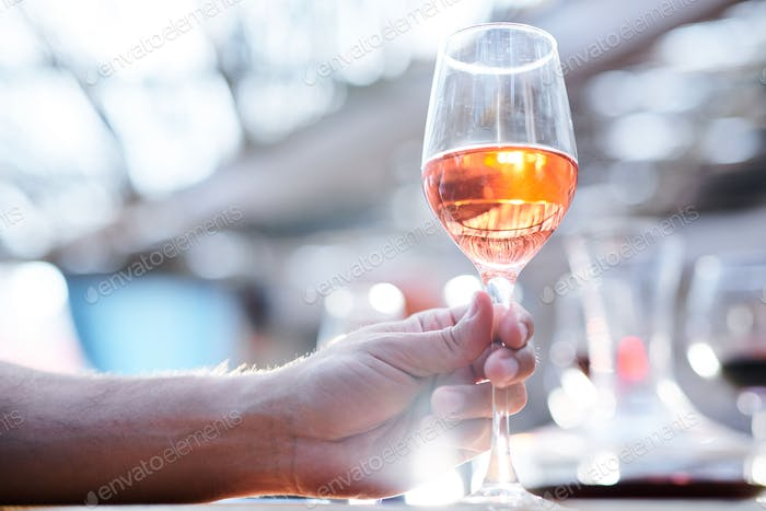 Human hand holding bokal of white wine or brandy while going to drink it