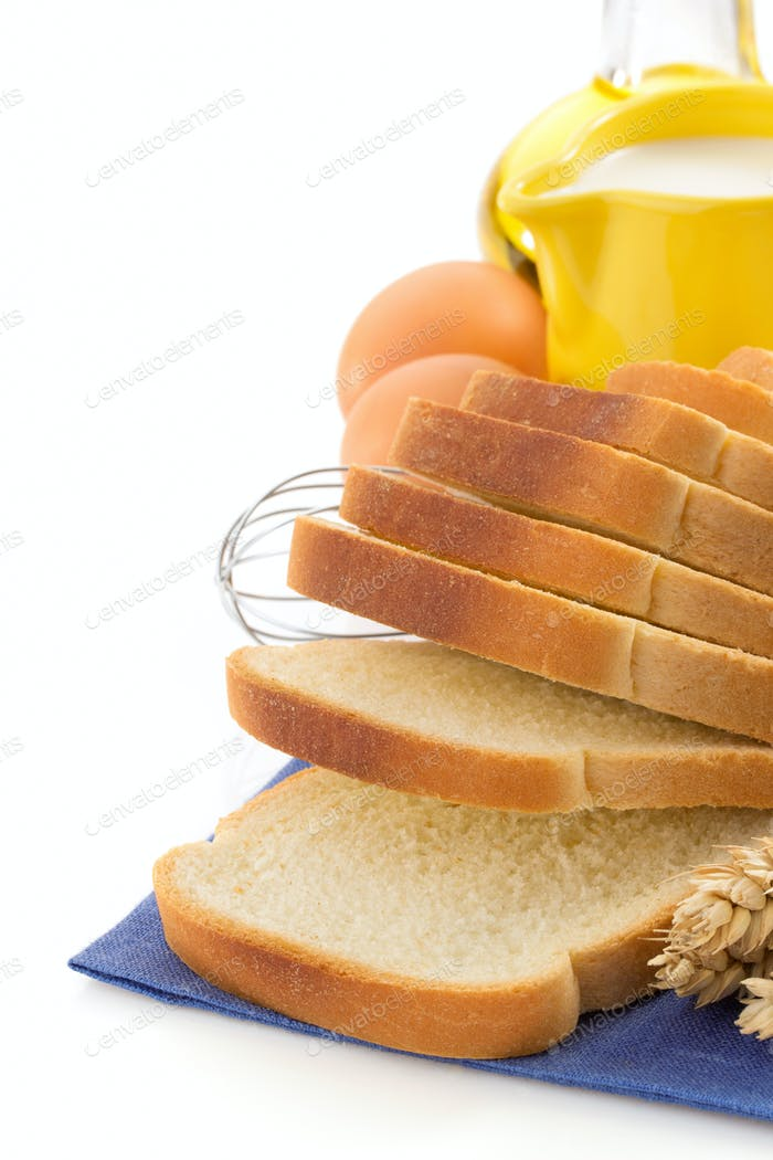 fresh bread on white