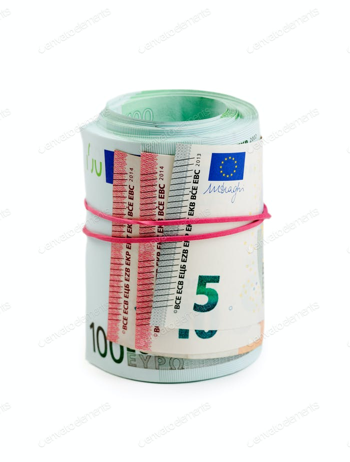 Euro banknotes in rolls