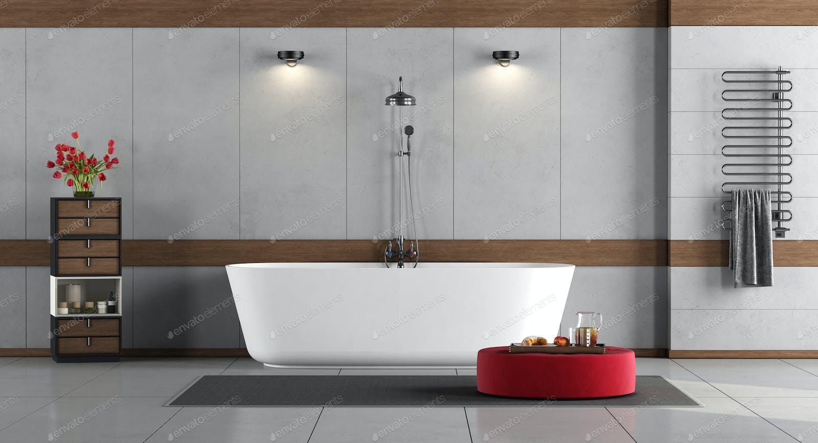 Minimalist Bathroom With Bathtub And