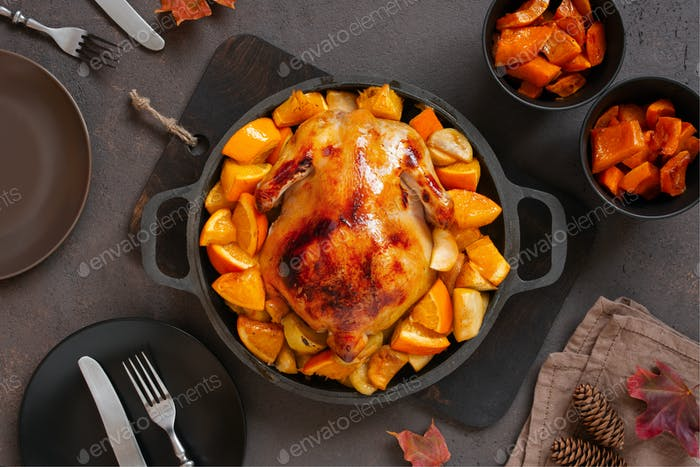 Thanksgiving Dinner with Roasted Chicken