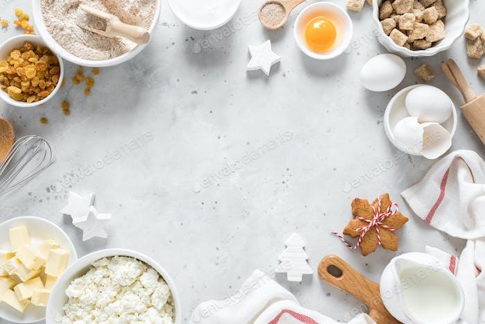 Weihnachten, Noel, Weihnachten, Weihnachten, Noel, Neujahr oder Weihnachten Backen Kulinarischer Hintergrund, Grußkarte