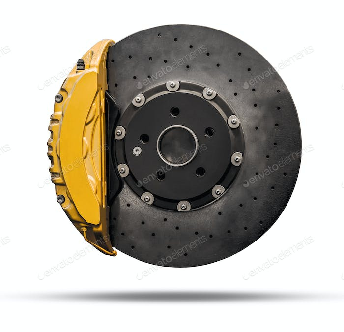 brake disc and yellow caliper