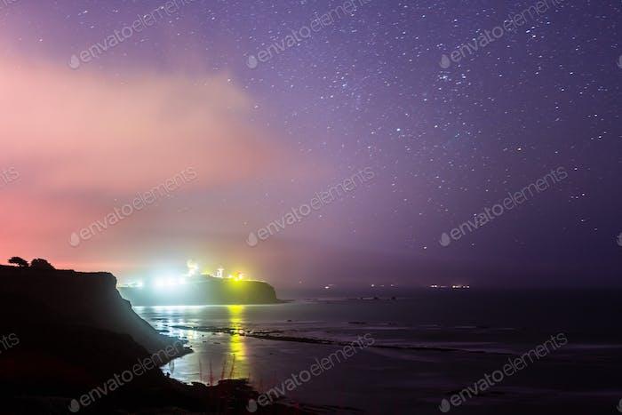 Pillar Point coastal landscape on a starry night, San Francisco bay area, California