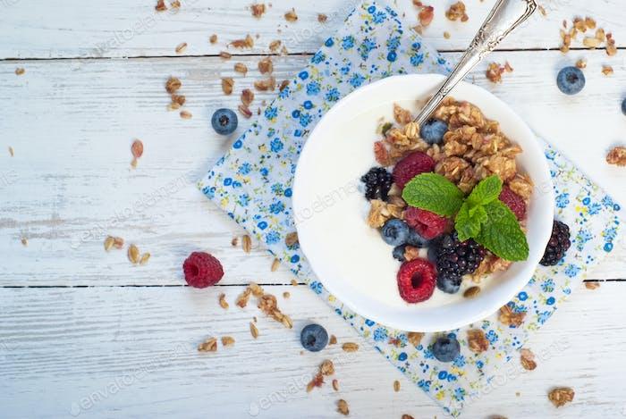 Yogurt with Granola and fresh berries