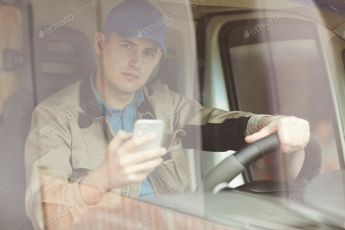 Courier driving the van
