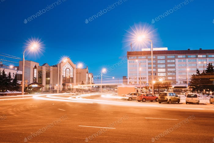 Gomel, Belarus. Railway Station Building And Hotel At Morning Or