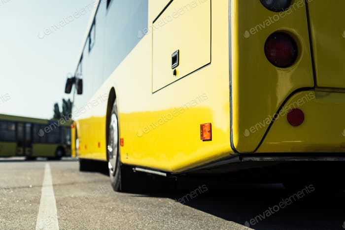 close up view of city bus on parking