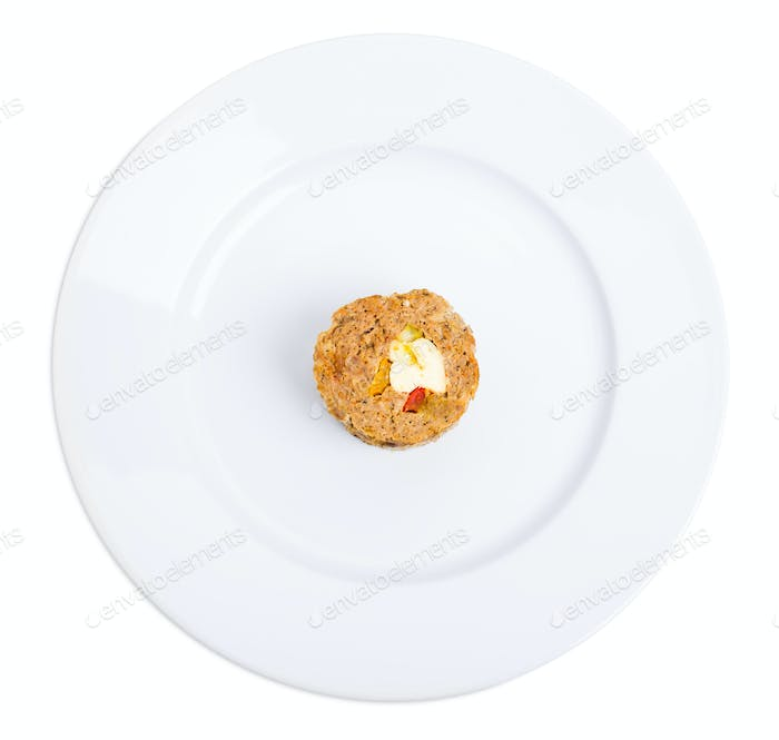 Minced chicken roulade with eggs.