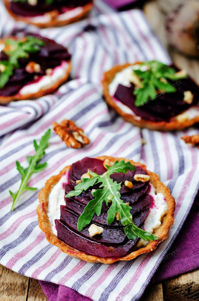goat cheese beet arugula walnut honey tartlets