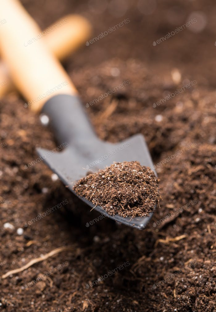 Shovel tool on soil