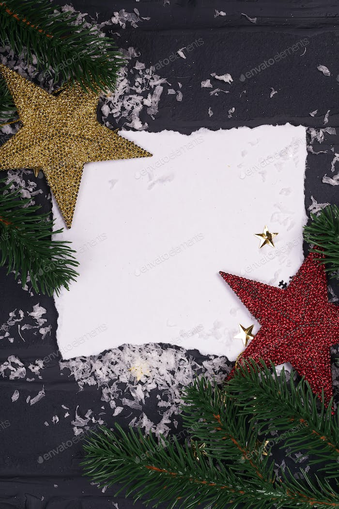 Bright christmas composition with stars, fir branch three