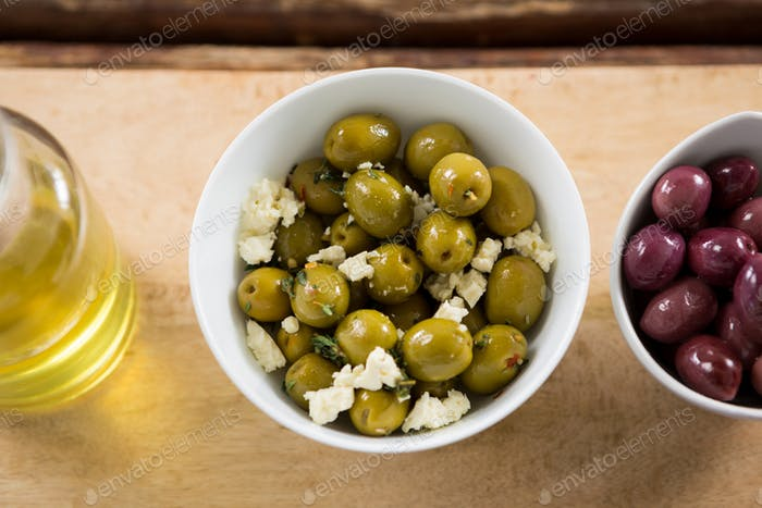 Marinated olives in bowl