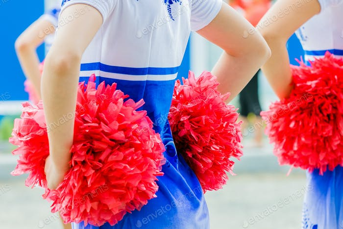 Young female cheerleaders