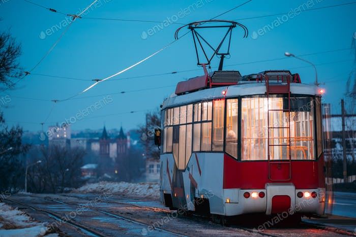 Vitebsk, Belarus. Back View Of Public Old Retro Tram Moving Near