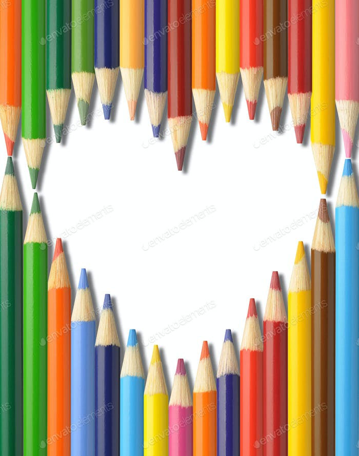 pencils heart shape