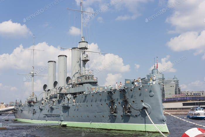 Cruiser Aurora. The ship is moored at Petrogradskaya embankment and is a Museum
