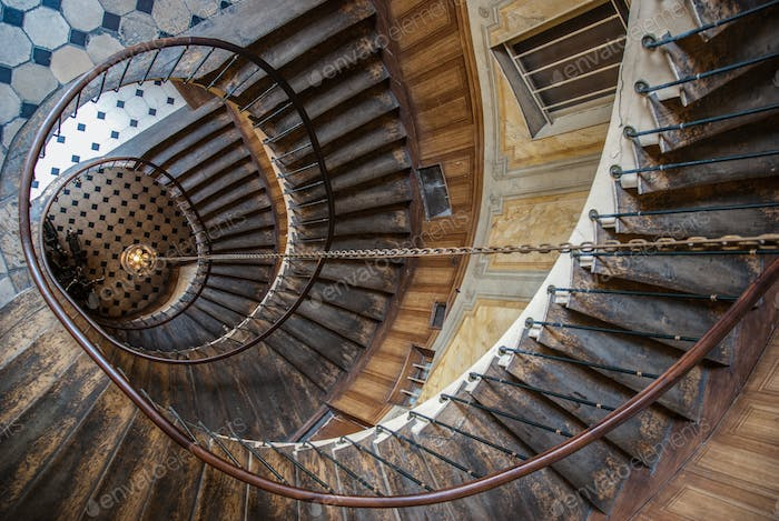 Paris, France - August 05, 2006: Top view of the architectural element of the spiral staircase in