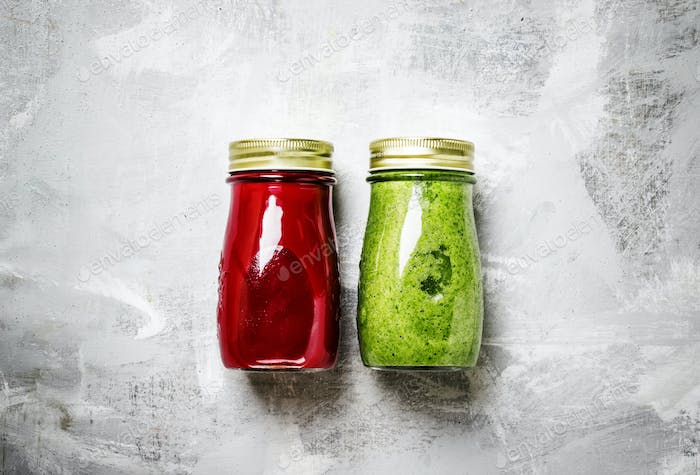 Detox smoothies from raw vegetables and fruits