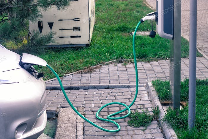 Charging of electic car on charging station