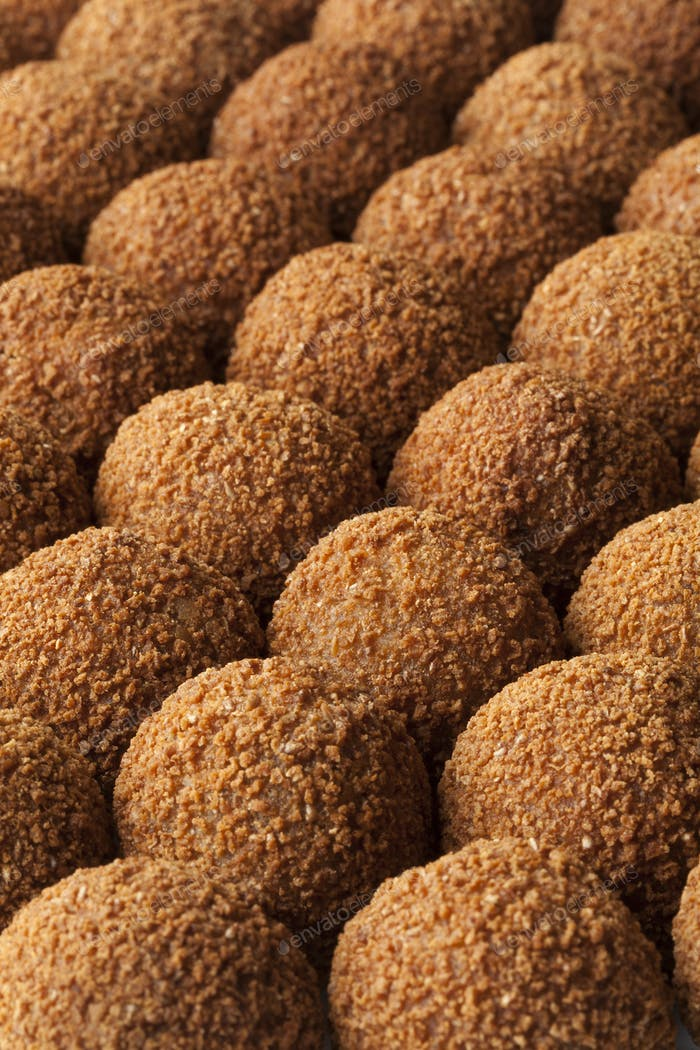 Dutch traditional snack bitterballen full frame