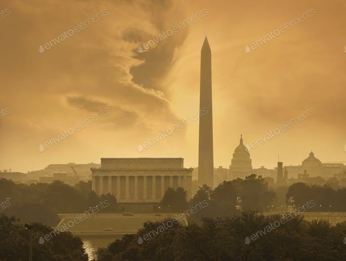 Washington DC Skyline with Dramatic Clouds