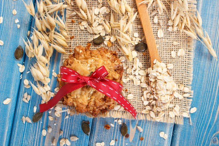 Oatmeal cookies with ingredients, healthy dessert concept