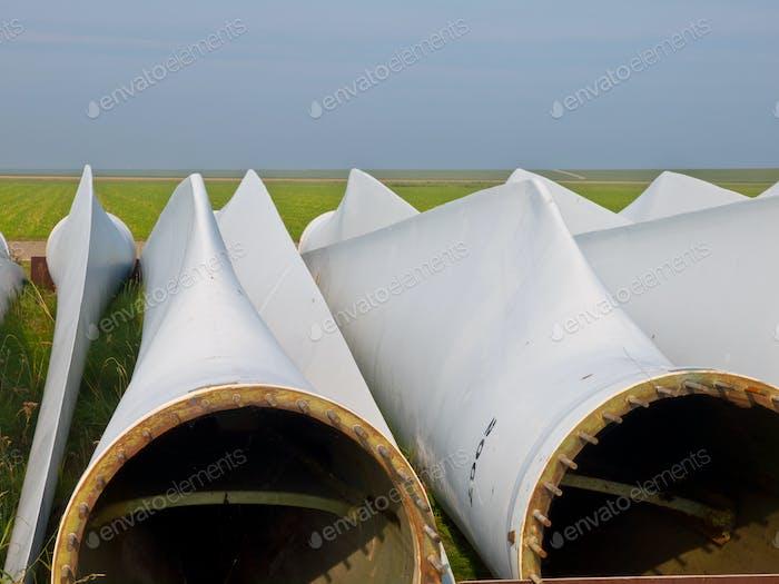 wind turbine blades awaiting assembly
