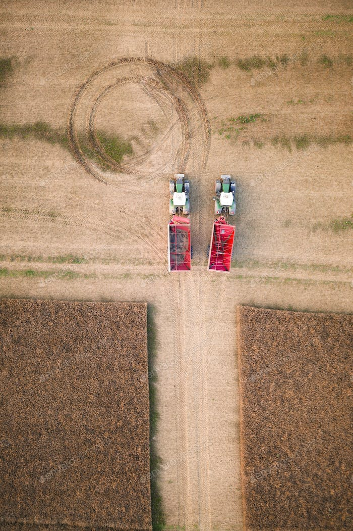 Two red tractors in a wheat field