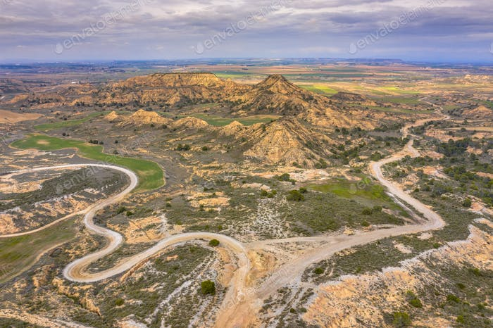 Road arid landscape Alcubierre mountains