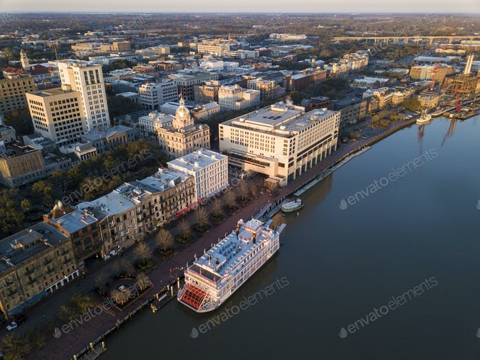 Aerial view of historic River Street and downtown Savannah, Geor
