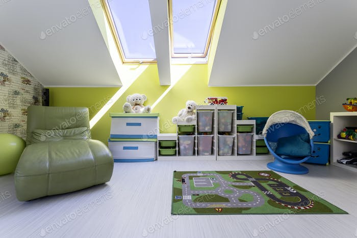 Kid's room with road map carpet
