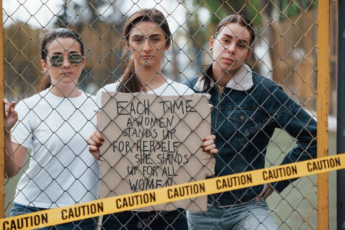Conception of feminism. Group of women have protest for their rights outdoors