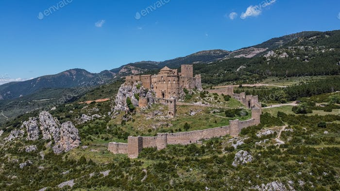 Aerial View of Castle of Loarre in Spain