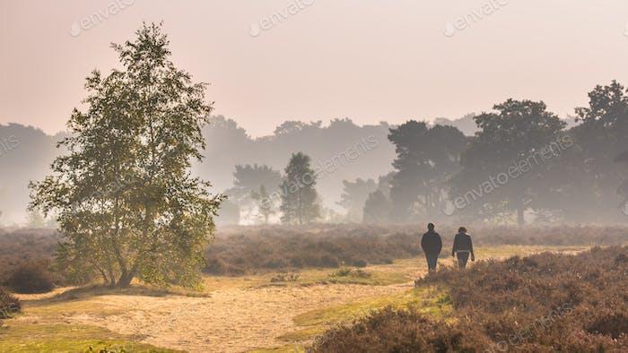 Couple walking along path through heathland