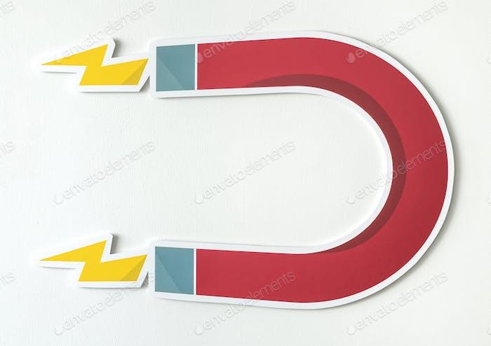 Magnet horseshoe magnetic icon isolated