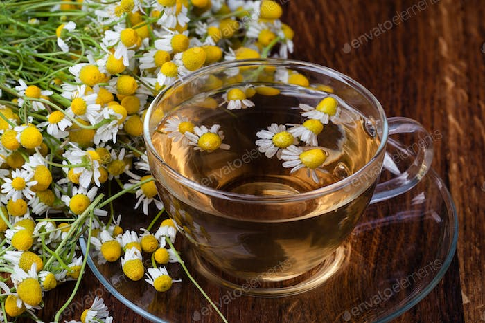 Cup of medicinal chamomile tea